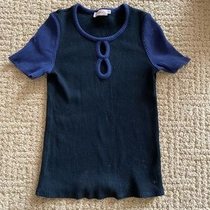 Tory Burch Black with Navy Ribbed Keyhole Top M